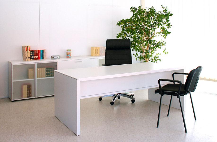 Mesa de Oficina Pannel blanca vista frontal - Limobel Inwo
