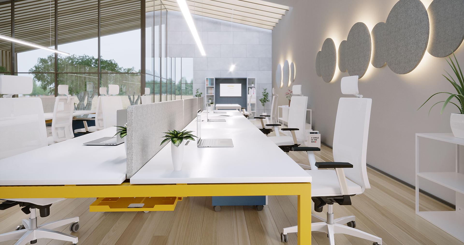 Mesa de Oficina Nix - multipuestos patas amarillas - Limobel Inwo