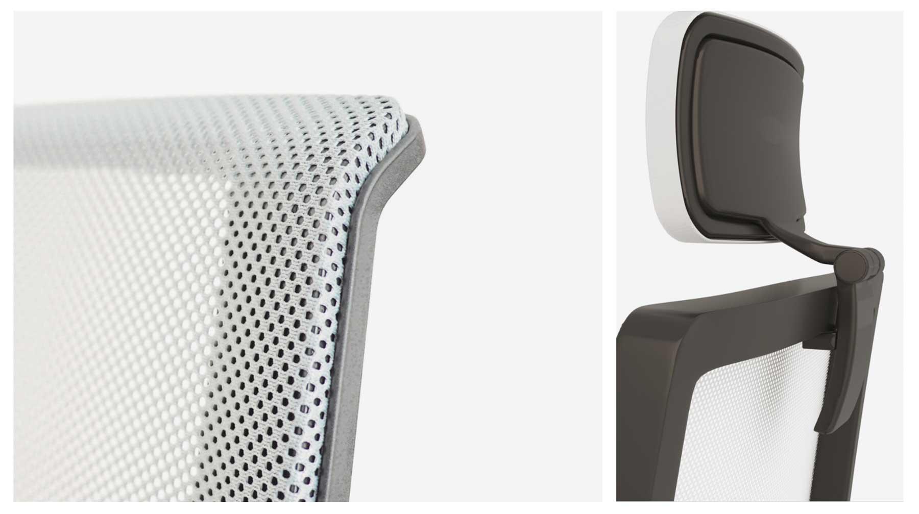 Respaldo de malla transpirable y reposacabezas de sillas de escritorio ergonómicas