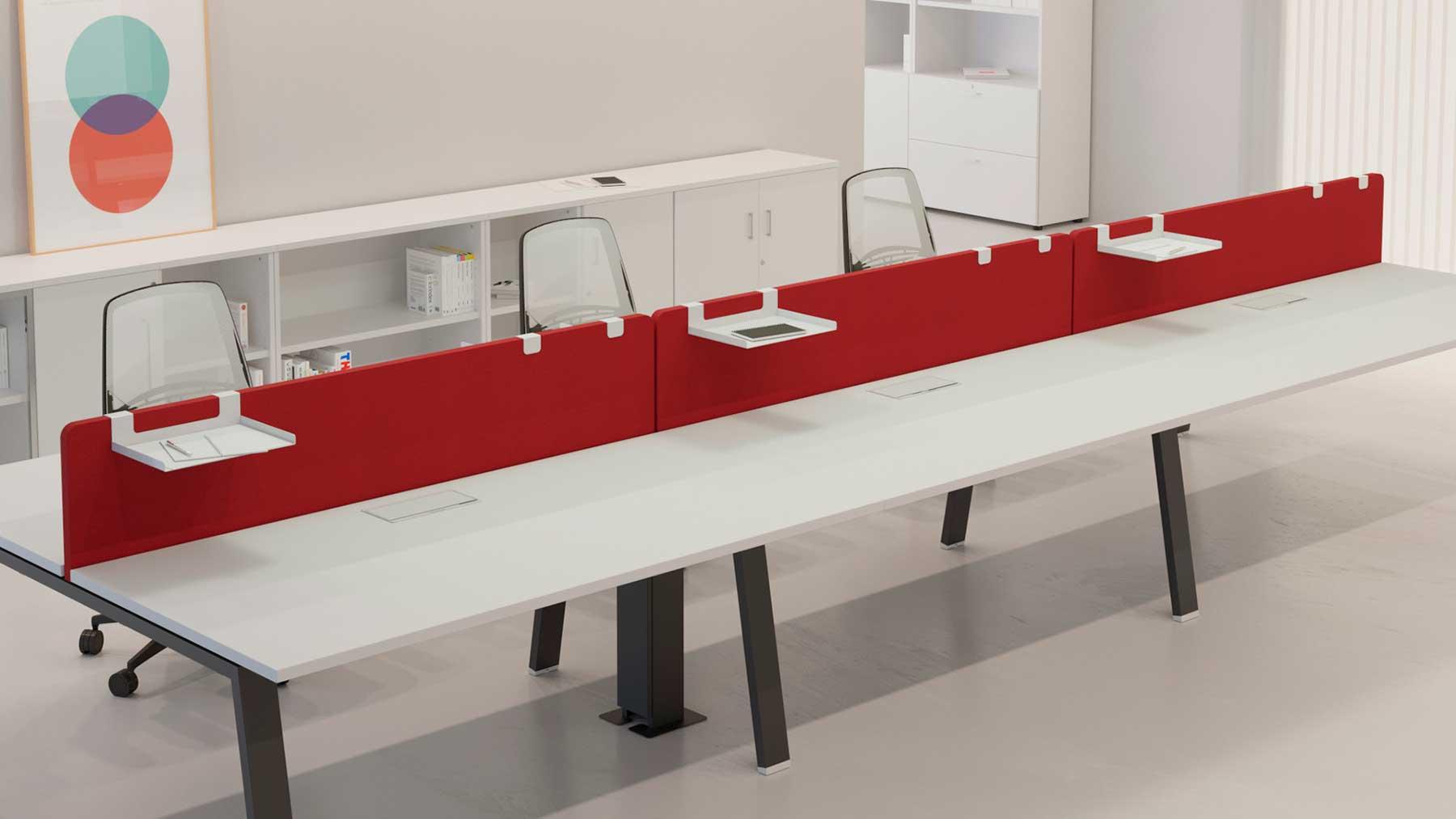 Separadores fonobsorbentes Acustic Premium para mesas de oficina
